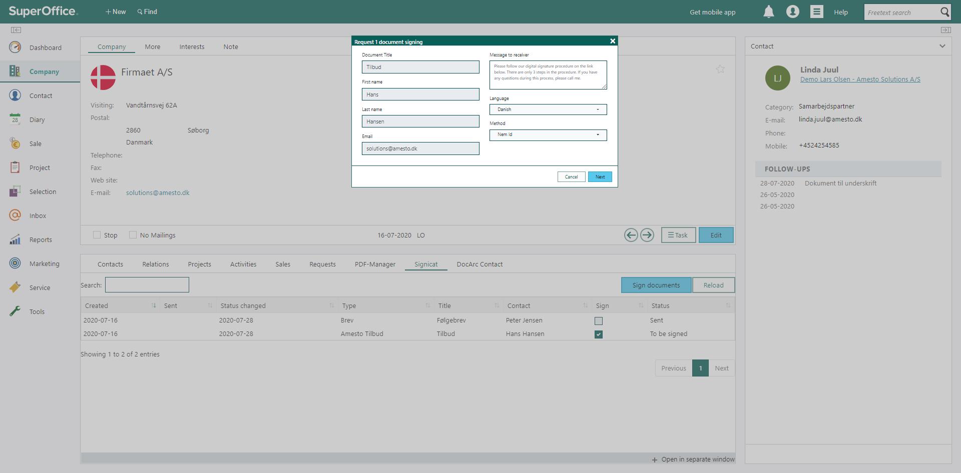 Med Online signatur er det muligt at lave en personlig meddelse npr et dokument sendes til underskrift