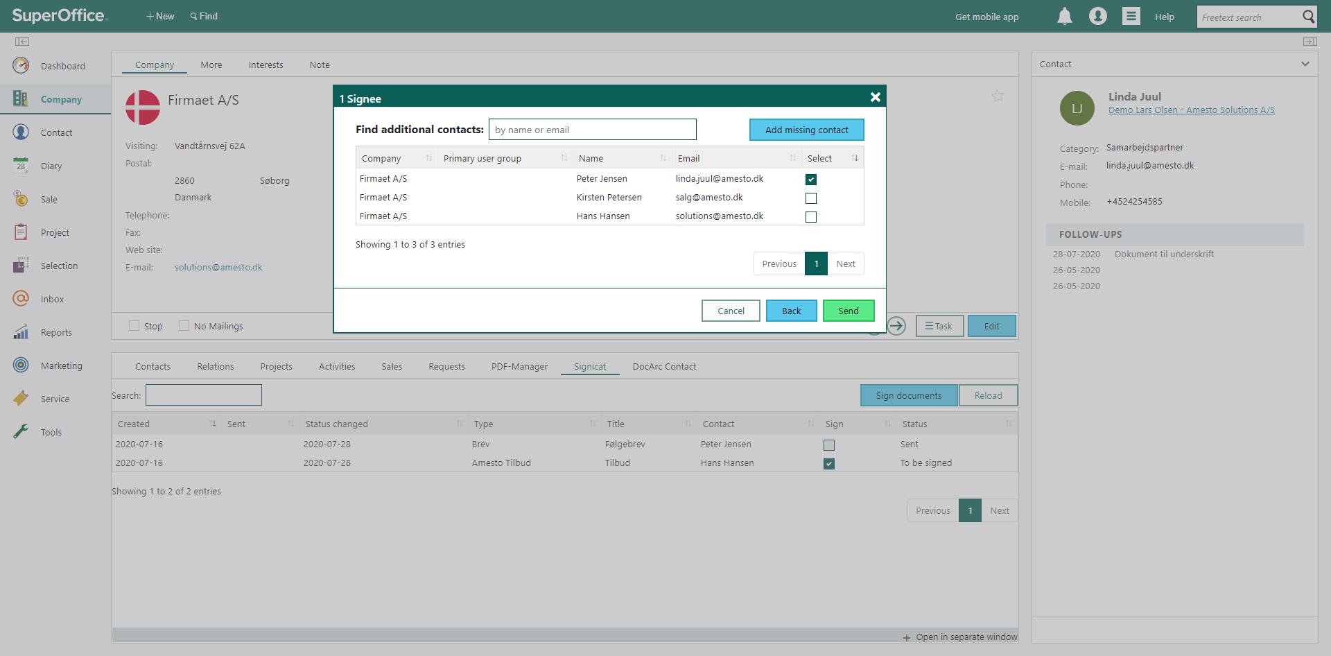 Online signatur lader dig finde modtagere i SuperOofice eller tilføje dine egne